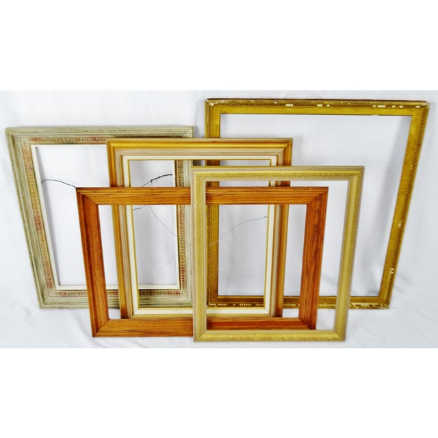 Vintage Wood Picture Frames - Set of 5 | Chairish
