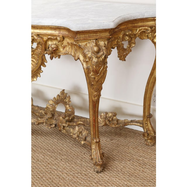 Gold Gilt Console With Custom Cut Marble Top For Sale In Houston - Image 6 of 12
