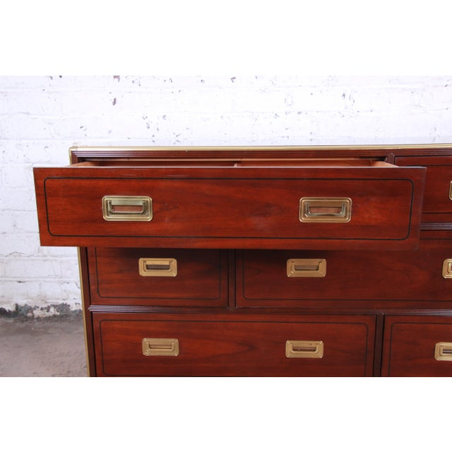 Wood Baker Furniture Brass Campaign Style Long Dresser For Sale - Image 7 of 13