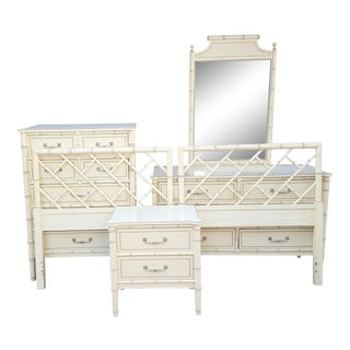 1970s Hollywood Regency Henry Link Faux Bamboo Bali Hai Twin Bedroom Set - 6 Pieces For Sale