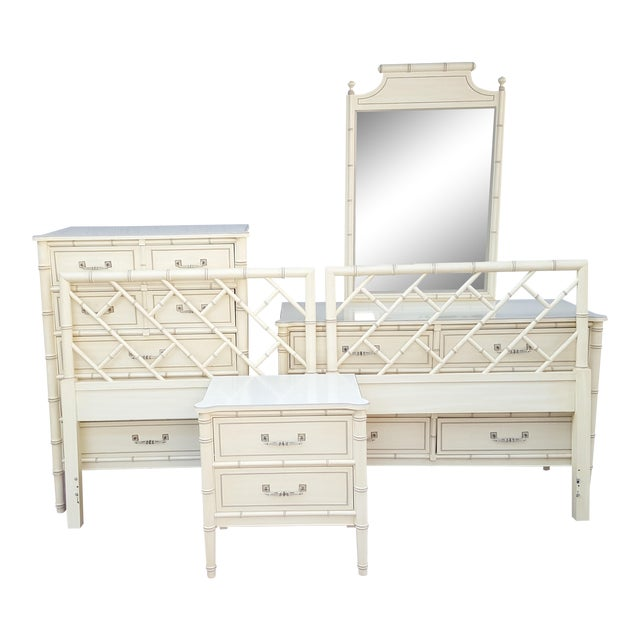 Hollywood Regency Henry Link Faux Bamboo Bali Hai Twin Bedroom Set - 6 Pieces For Sale