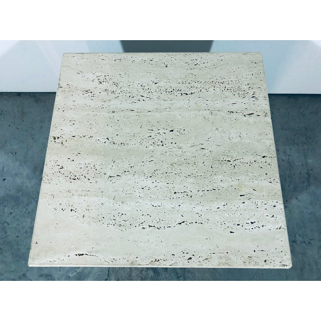1970s Mid-Century Modern Italian Travertine Pedestal For Sale - Image 10 of 12