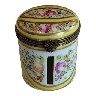 1970s Cottage Limoges Floral Trinket Box For Sale