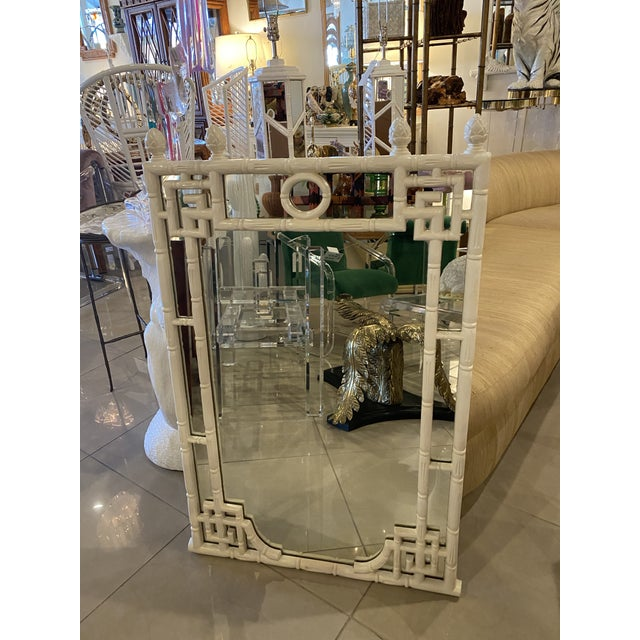 Vintage faux bamboo greek key white wall mirror. Original white finish. Can be lacquered any color for additional cost....