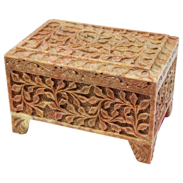 Hand-Carved Stone Jewelry Box Rajasthan, India For Sale - Image 13 of 13