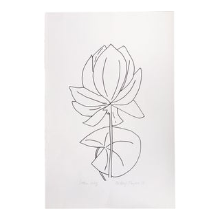 """Original Vintage 1978 Black and White Botanical """"Lotus Lily"""" Drawing Unframed on Paper Signed Betsey Tryon For Sale"""