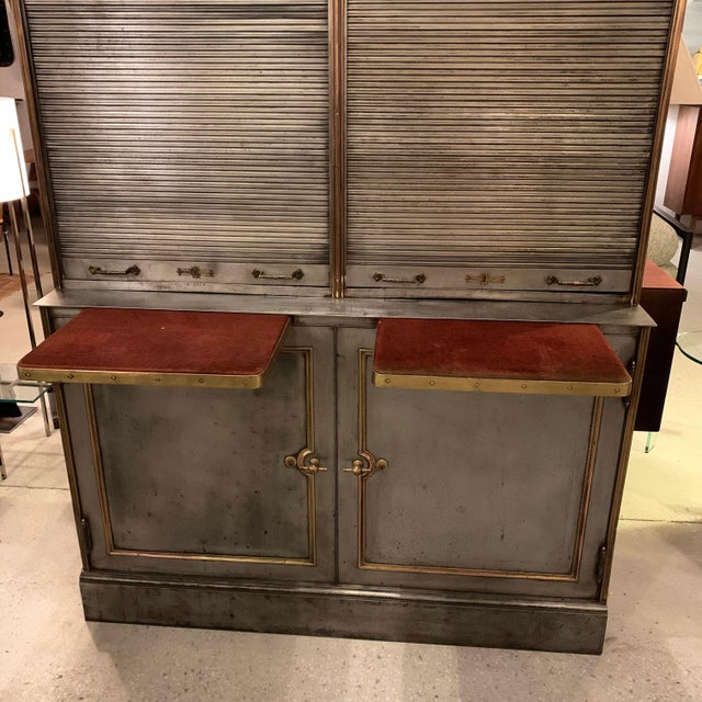 Slate Gray Antique Steel and Brass Roll Top Valuables Safe Display Cabinet For Sale - Image 8 of 13