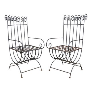 Vintage Wrought Iron Curule Whimsical Regency Style Scrolling Arm Chairs - A Pair