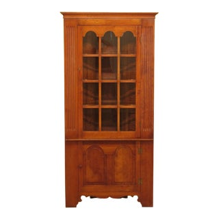 1980s Primitive Stickley Cherry Valley Corner China Cabinet