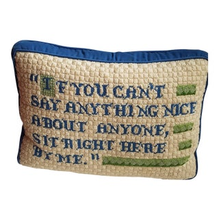1970s Vintage Handmade Needlwork Pillow For Sale