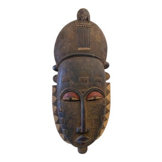 "African Baule Kpan Mblo Portrait Mask Ivory Coast 37"" H For Sale"