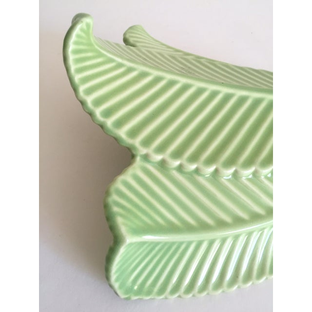 Vintage Mid Century Art Deco Pistachio Mint Green Art Pottery Palm Leaf Ceramic Wall Pocket Vase For Sale In Kansas City - Image 6 of 13