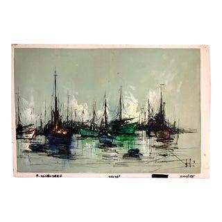 Mid Century Oil Painting Ships in Harbor Attrib Hjalmar Amundsen For Sale