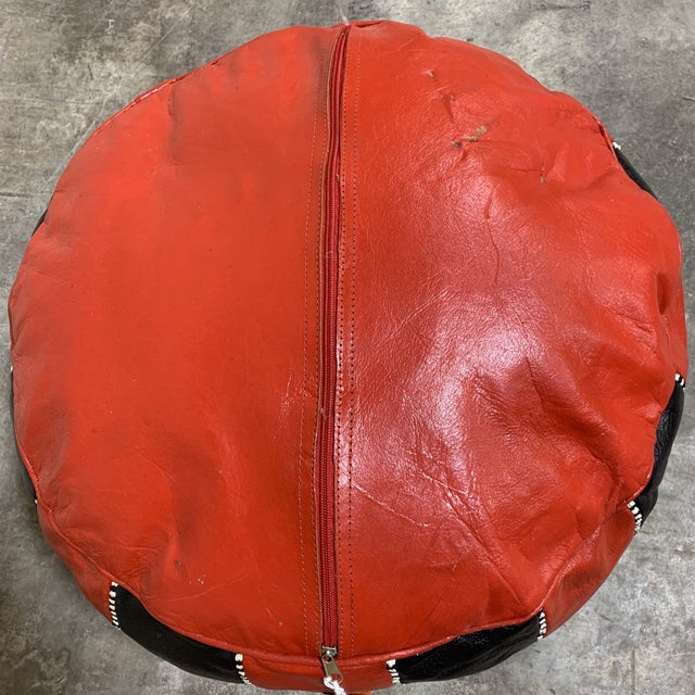 Black & Red Leather Moroccan Pouf For Sale - Image 4 of 9