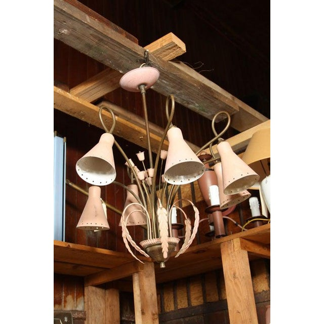Metal Mid-Century Modern Brass and Pink Painted Metal Chandelier For Sale - Image 7 of 8