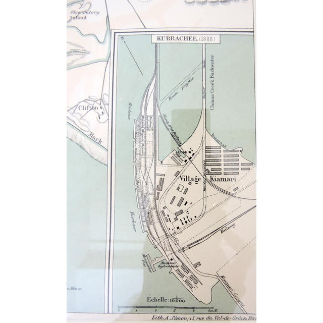 Historical Map of Kurrachee 1888 by A. Simon For Sale - Image 4 of 6