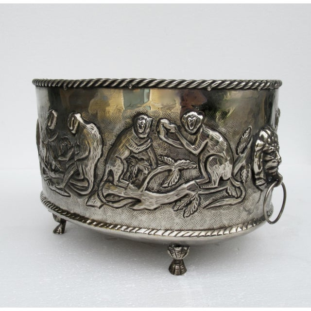 Castilian Hammered Silver Monkey Embossed Centerpiece Jardiniere, Planter For Sale In West Palm - Image 6 of 13