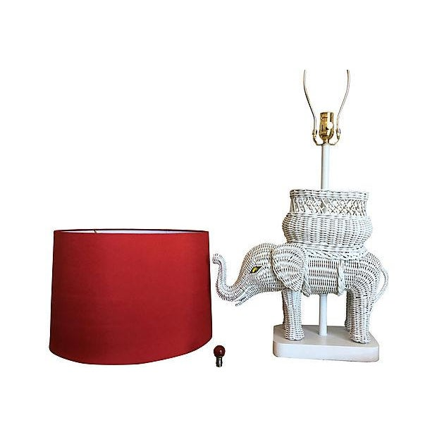 Hanson Wicker Elephant Lamp & Shade For Sale In Austin - Image 6 of 8