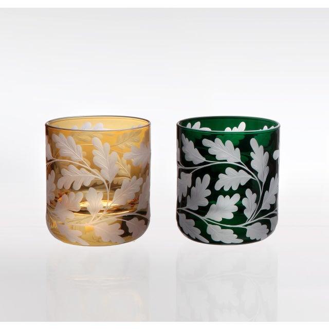 Arts & Crafts Oak Leaves Votives, Set of 6, Amber and British Racer Green For Sale - Image 3 of 4