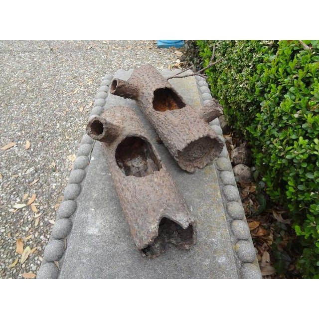 Iron Faux Bois Log Sculptures-A Pair For Sale In Houston - Image 6 of 12