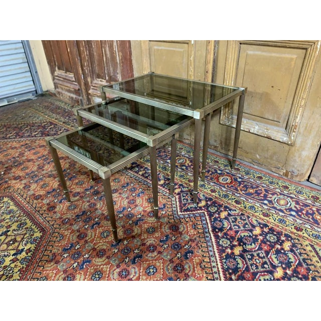 Mid-Century Modern Maison Jansen Mid Century Silvered Brass and Glass Nesting Tables - Set of 3 For Sale - Image 3 of 5