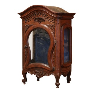 18th Century French Louis XV Carved Walnut Wall Cabinet With Glass Door For Sale