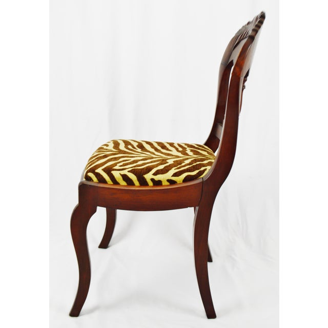Vintage Victorian Style Side Chair With Animal Print Cushion For Sale - Image 4 of 13