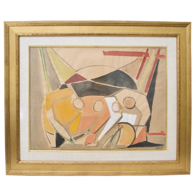 Tan 1949 Cubist Watercolor Painting by Edouard Pignon, Colleague of Picasso in Paris For Sale - Image 8 of 8