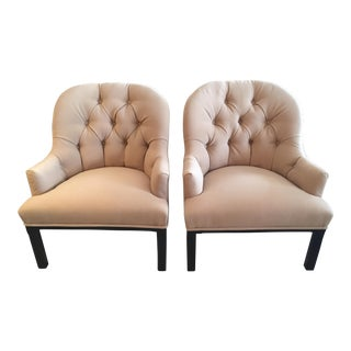 Mid Century Modern Camel Hair Dunbar Style Club Lounge Chairs- A Pair For Sale
