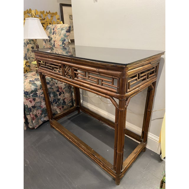 1960s Boho Chic Bamboo Walnut Console Table For Sale - Image 9 of 9