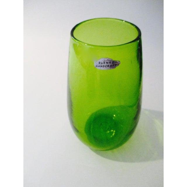 Blenko Green Art Glass Vase - Image 9 of 10