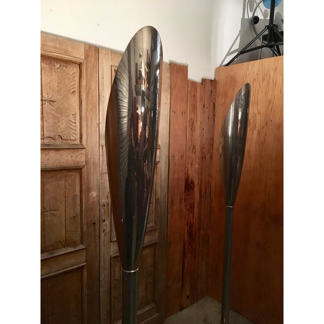 Mid 20th Century Modernist Aluminum Torchère Floor Lamps - a Pair For Sale - Image 11 of 13