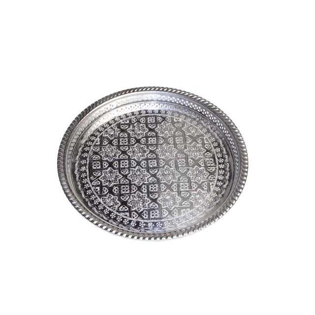 Silver Moroccan Serving Tea Tray - Image 2 of 5