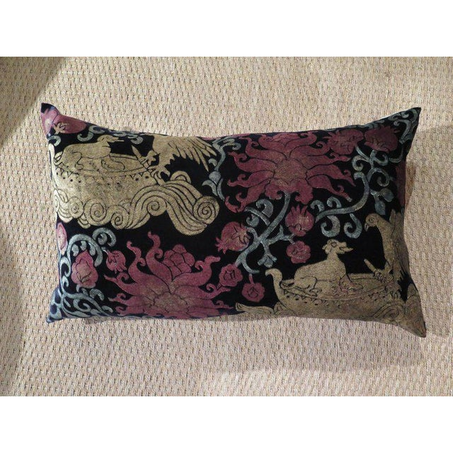 Extravagant pillow featuring hand-dyed silk velvet that has been created using illustrated wooden blocks, which in turn...