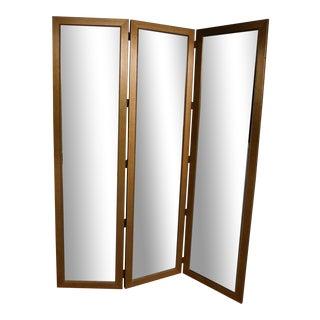 Quality Gilt Frame Beveled Glass Tri-Fold Room Divider Screen For Sale