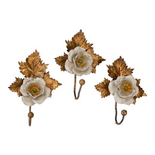 Gilded Italian Tole Flower Hooks - Set of Three For Sale