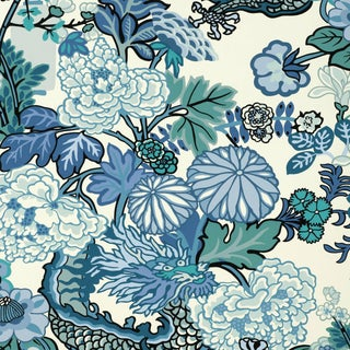 Sample - Schumacher Chiang Mai Dragon Wallpaper in China Blue For Sale