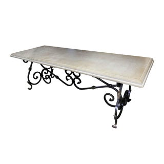 Ornate Wrought Iron and Travertine Table For Sale