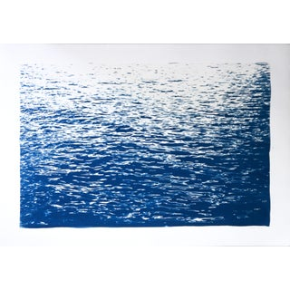 2020 Kind of Cyan, Calming Sea Ripples in Blue, Contemporary Cyanotype on Watercolor Paper For Sale