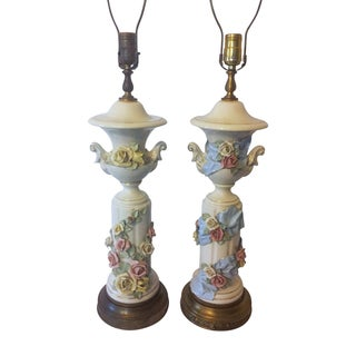 Vintage Rose Porcelain Column Lamps - A Pair For Sale