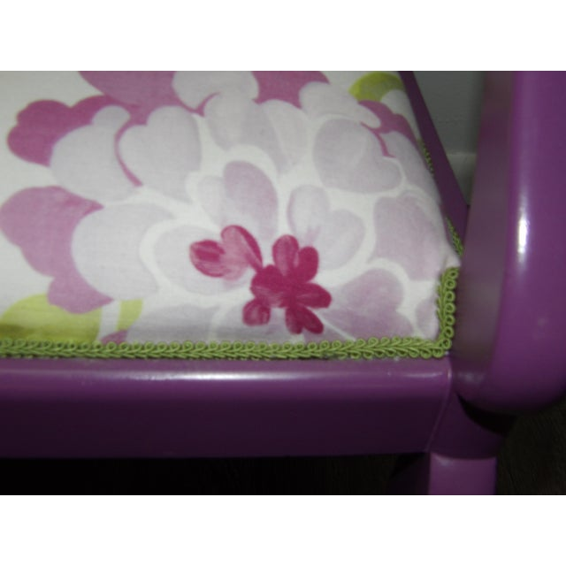 Accent Chair in Purple With Floral Upholstery & Pillow For Sale In West Palm - Image 6 of 8