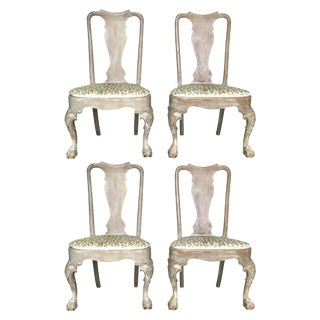 Queen Anne Lined Mahogany Chairs - Set of 4 For Sale