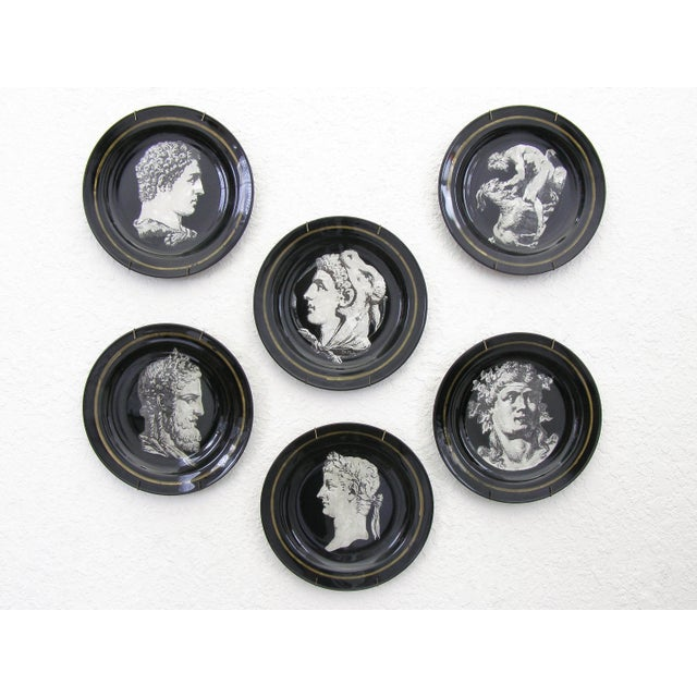 Fornasetti Style Neoclassical Black Glass Wall Plates - Set of 6 Mid-Century Modern MCM - Image 3 of 11