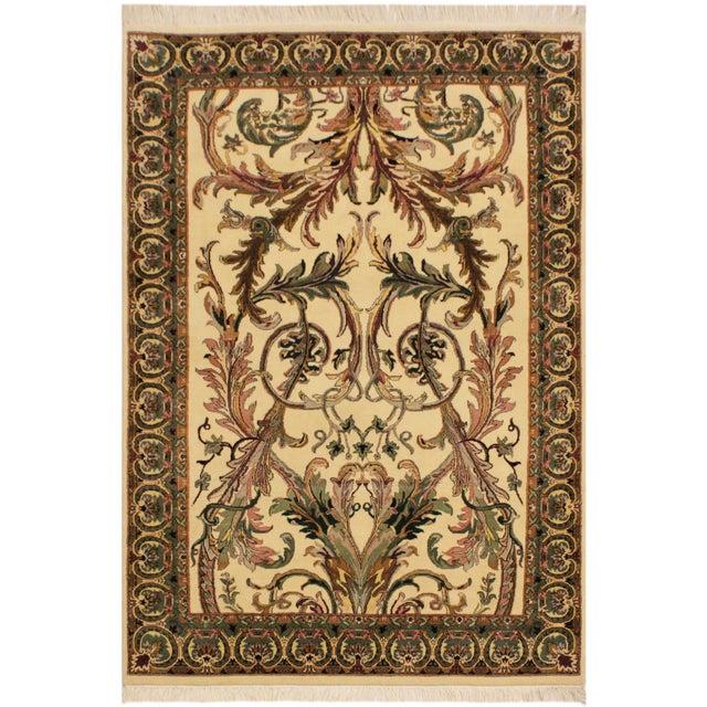 Ivory Art Nouveau Bhati Pak-Persian Zelda Ivory/Pink Wool Rug - 4'1 X 6'7 For Sale - Image 8 of 8