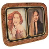 Image of 1990s Modern Black and Gold Double Picture Frame For Sale