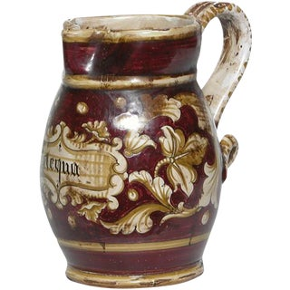 "Italian Hand Painted ""Negua"" Ceramic Pitcher For Sale"