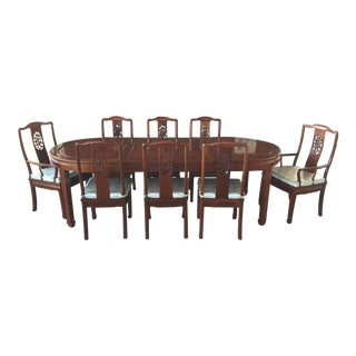 Chinese Dining Table & 8 Chairs Huali Rosewood For Sale