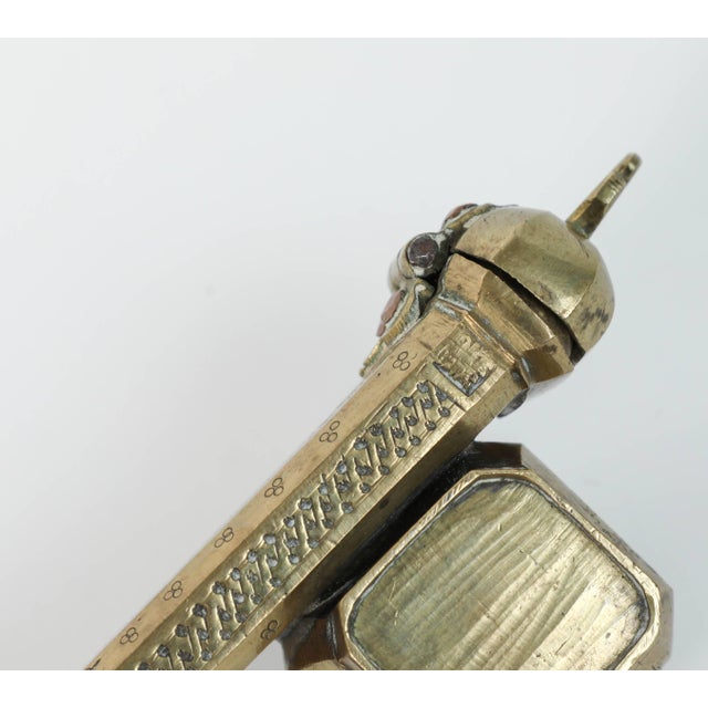 Gold Persian Brass Inkwell Qalamdan With Arabic Calligraphy Writing For Sale - Image 8 of 9