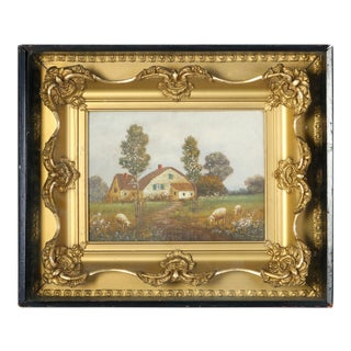 Antique Shadowbox Folk Art Oil on Canvas Landscape Painting, Farm and Sheep For Sale
