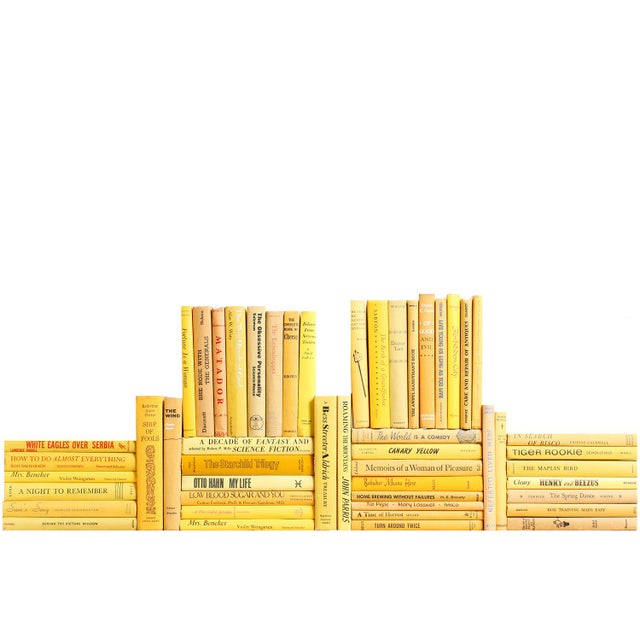 Midcentury Yellow Book Wall - Set of Fifty Yellow Decorative Books For Sale - Image 4 of 4